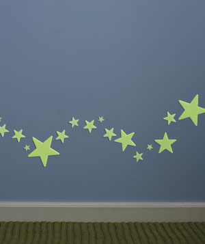 Glow in the dark stars in a hallway